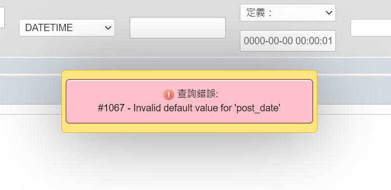 MySQL #1067 – Invalid default value for 'post_date'